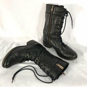"""Steve Madden """"Leader"""" Black Leather Combat Boots"""